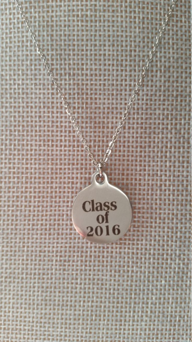 Class of 2016, Charm, Necklace, Dainty, Simple, Thank You, Gift, Stainless Steel, Christmas, Teacher, Professor, Student, Education by PickinsGalore on Etsy
