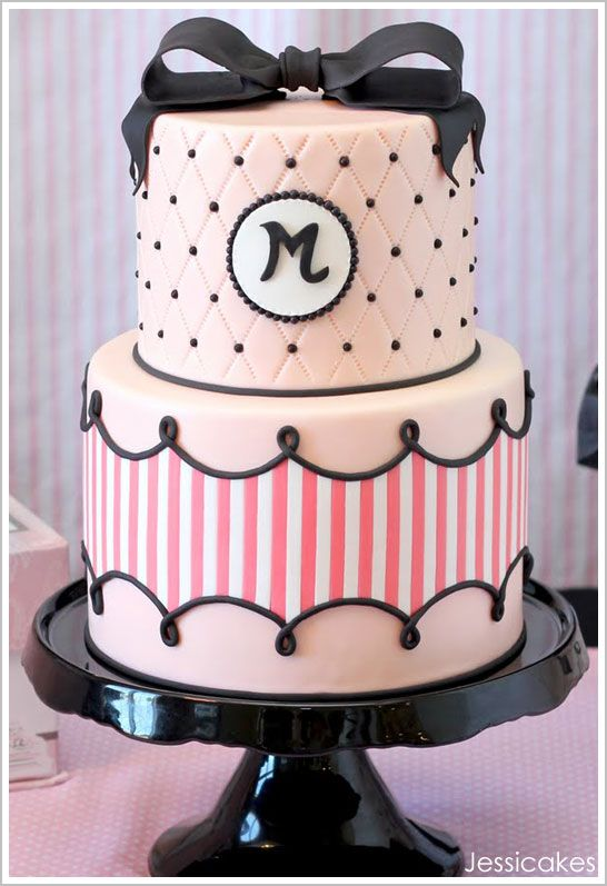 Pink and black couture cake for a Paris fashion themed party