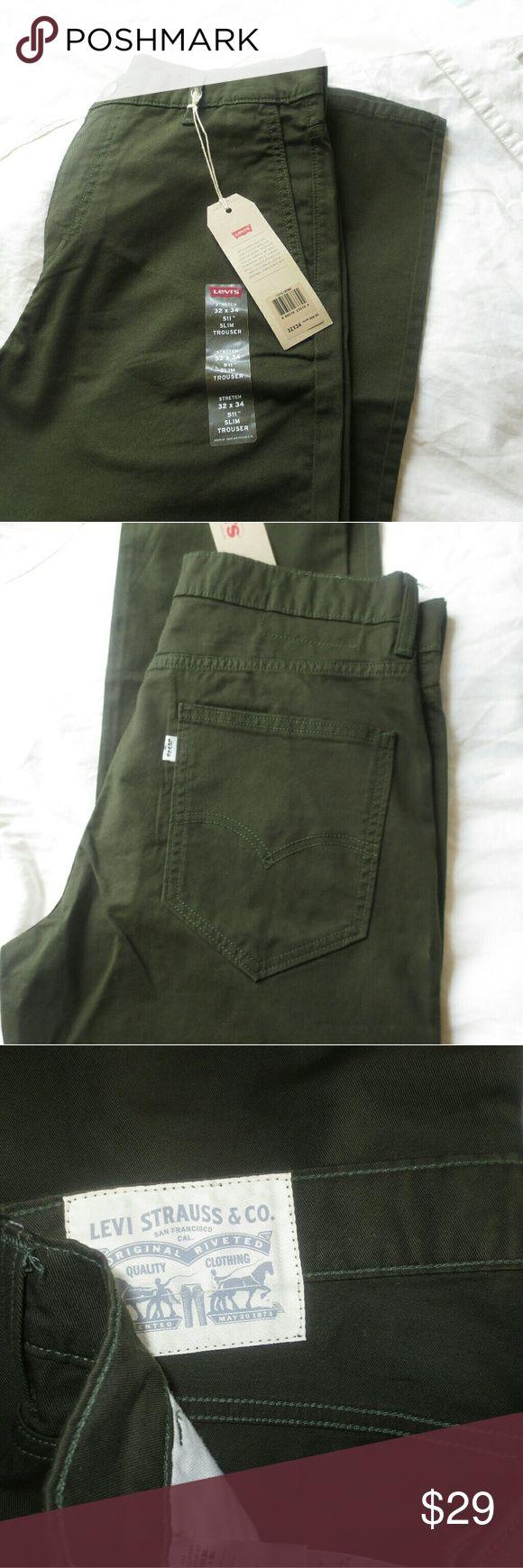 Levis 511 Slim Trouser Olive Color Twill Cotton Pants. Very stylish! Levi's Pants Chinos & Khakis