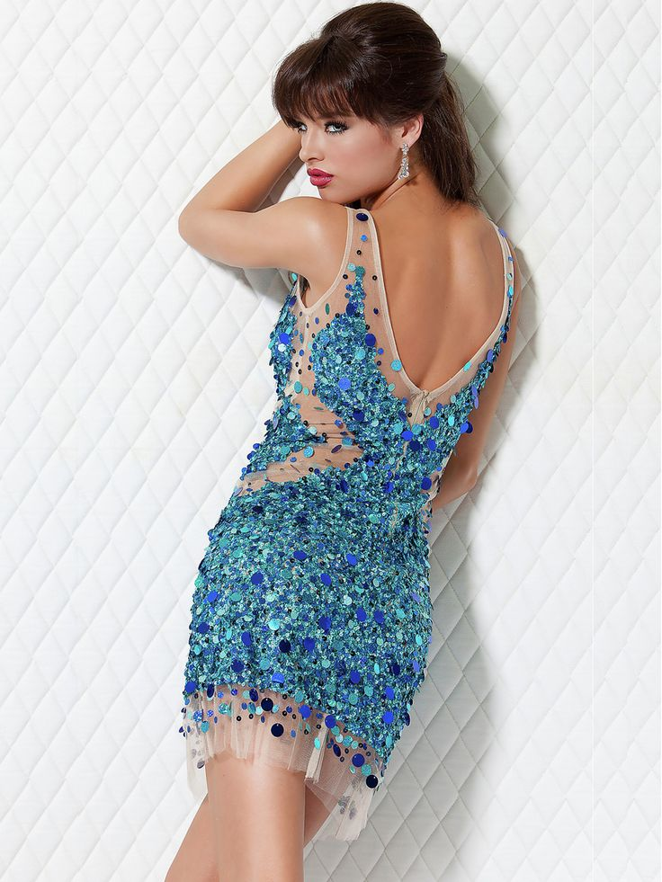 Short-Length-Sheath-Blue-Sequins-Cocktail-Dress-