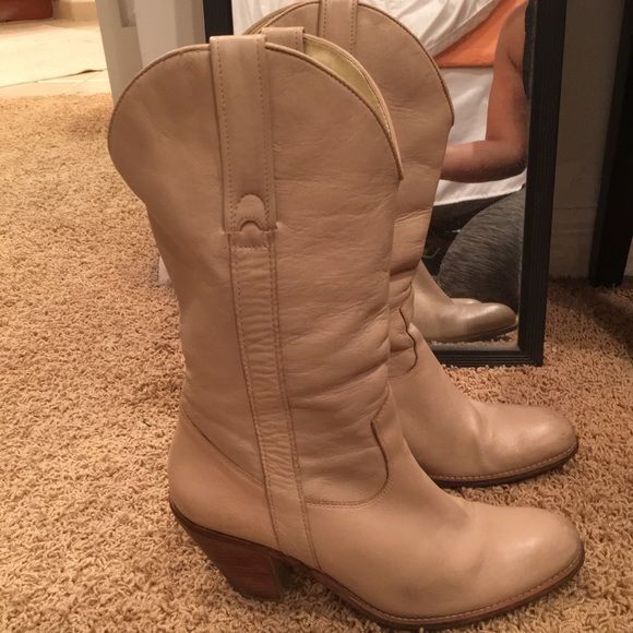Listing Jessica Simpson Cowboy boots Pre loved❤️ Country bar/concerts and these boots tho! Gorgeous tan color. Scuffs and such pictured *As is* Jessica Simpson Shoes Heeled Boots