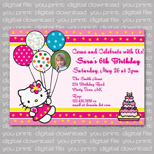 Unique Hello Kitty Invitation Card Ideas On Pinterest Hello - Birthday invitation cards singapore