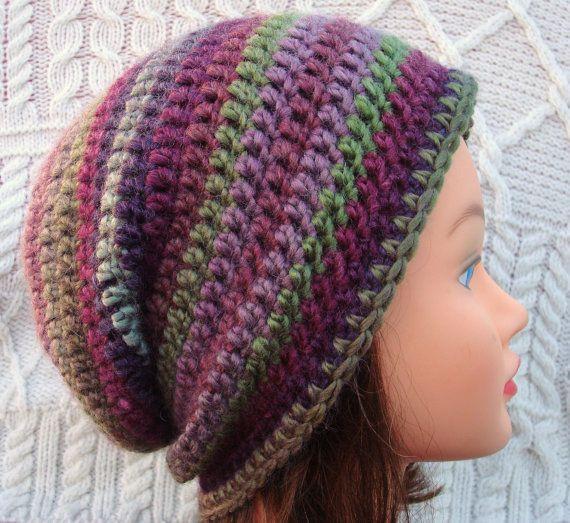 Funky Purple Hand Crocheted Hat Wool Blend by SelkieCrochet, $25.00