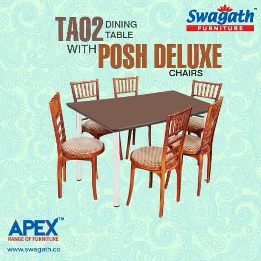 The aluminum based TA02 dining #table with Posh Deluxe #chairs from Swagath's APEX range of #furniture can give a royal look to your dining room!!