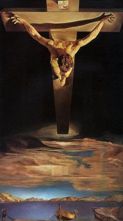 Cristo de San Juan de la Cruz, pintado por Dalí en 1957 y conservado actualmente en Glasgow, Reino Unido.  Cristo aparece con el pelo corto, muy distinto a las representaciones clásicas de Jesús con el pelo largo, y tiene siempre una posición relajada. En este tiempo Jesús es representado muy humano y humilde.