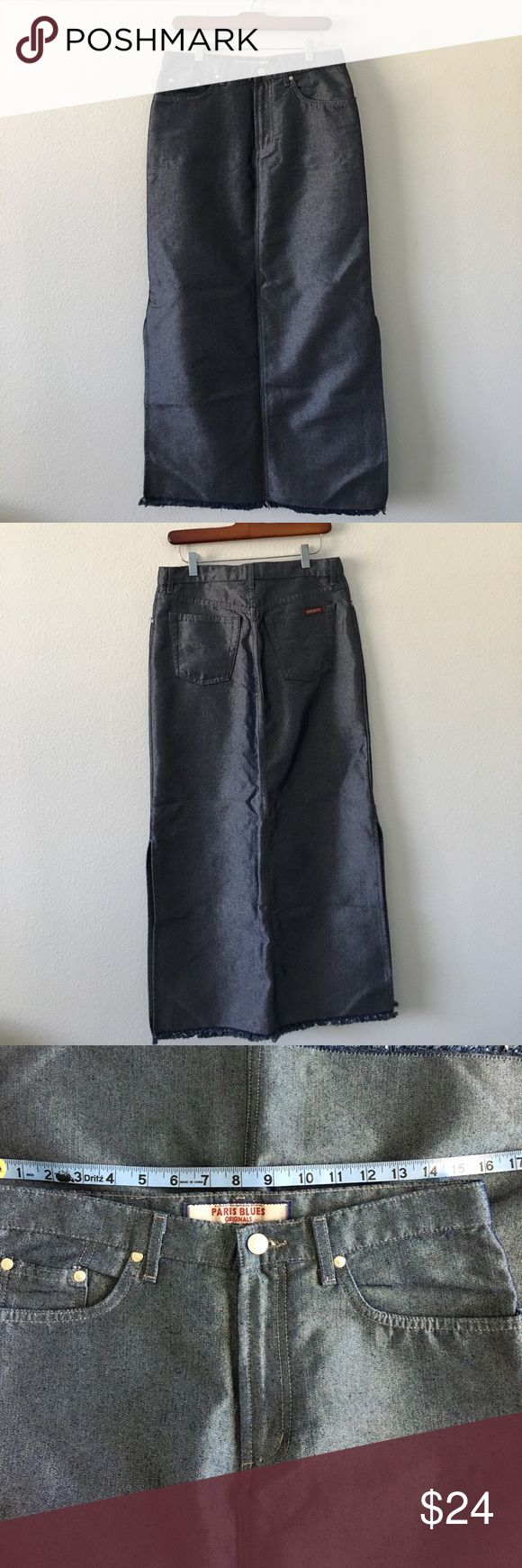 Paris Blues Maxi Skirt NWOT Denim maxiskirt with side slits and unfinished hem. The fabric has an amazing Sheen and I feel that you could address this skirt up and wear to a formal event. Never worn. Five pocket style with zipper and button closure. This skirt would look great with summer tops and sneakers. In the fall you can add sweaters and wear with Leggings and boots. Paris Blues Skirts Maxi