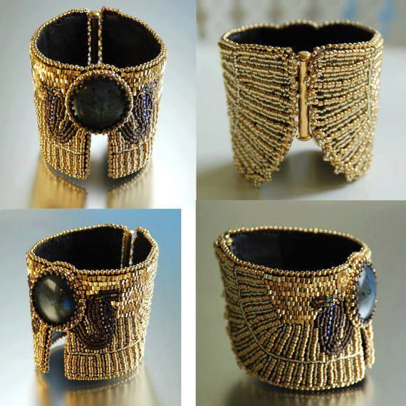 Serpent Ceremony in Indigo - Egyptian Jewelry, Ancient Egyptian Influenced Cuff…