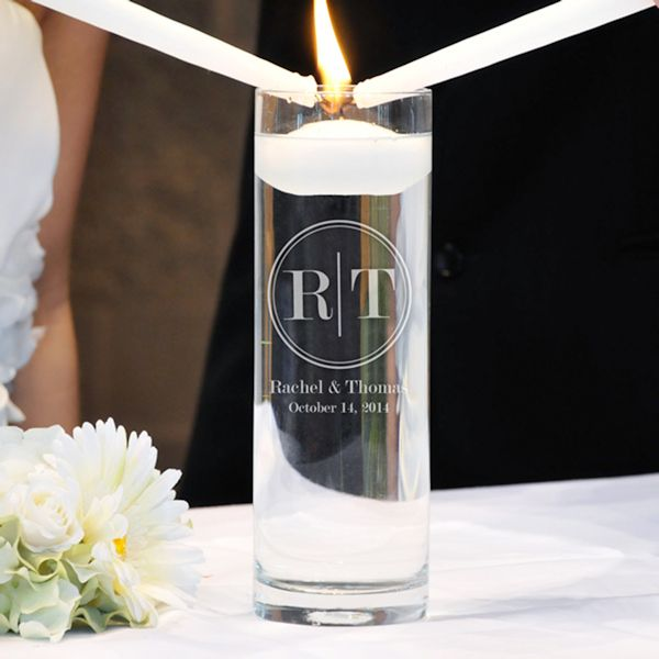 circle monogram floating unity candle