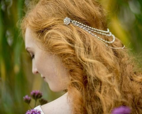 Pearl/Crystal Hair Drapes - Draped Style Statement Headpiece, Rhinestone Feature Clasps, Catherine