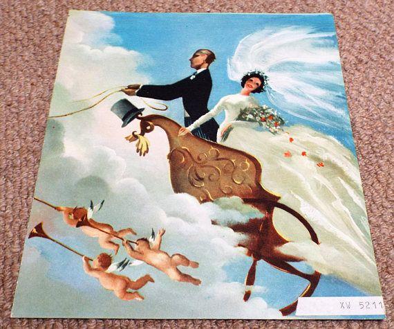 Cherubs & Flying Horses  Vintage 1962 GPO Wedding Greetings