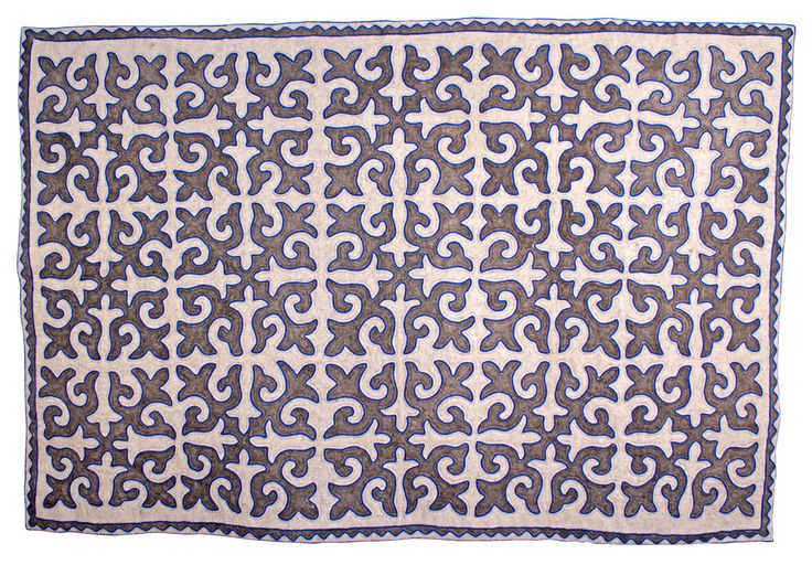 Room-size Shyrdak rug from Felt in grey and white with a refreshing blue braid 2m x 3.05m feltrugs.co.uk