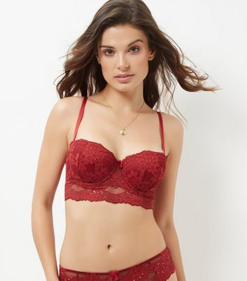 Dark Red Daisy Lace Longline Strapless Bra