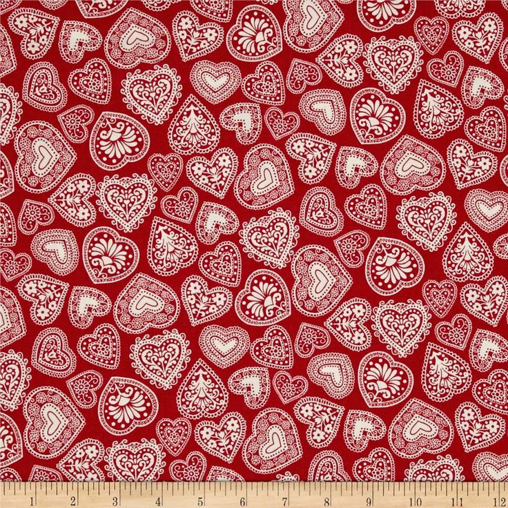 Scandi 3 Hearts Red from @fabricdotcom  Designed by The Henley Studio for Makower UK, this festive cotton print is perfect for quilting, apparel, and home decor accents. Colors include red and white.