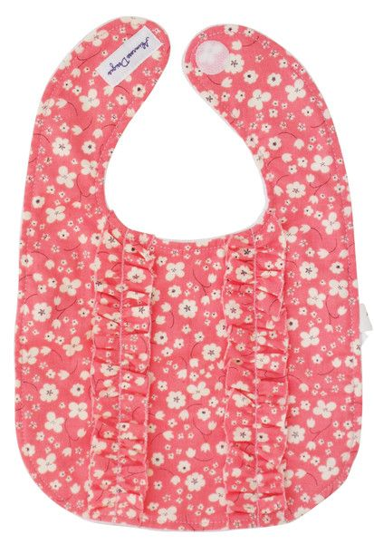 Designed in Australia by Alimrose Designs, this very pretty floral bib features double ruffles on the front, is towelling-backed and fastens with velcro tabs.  Teams perfectly with the Alimrose Audrey Rattle.