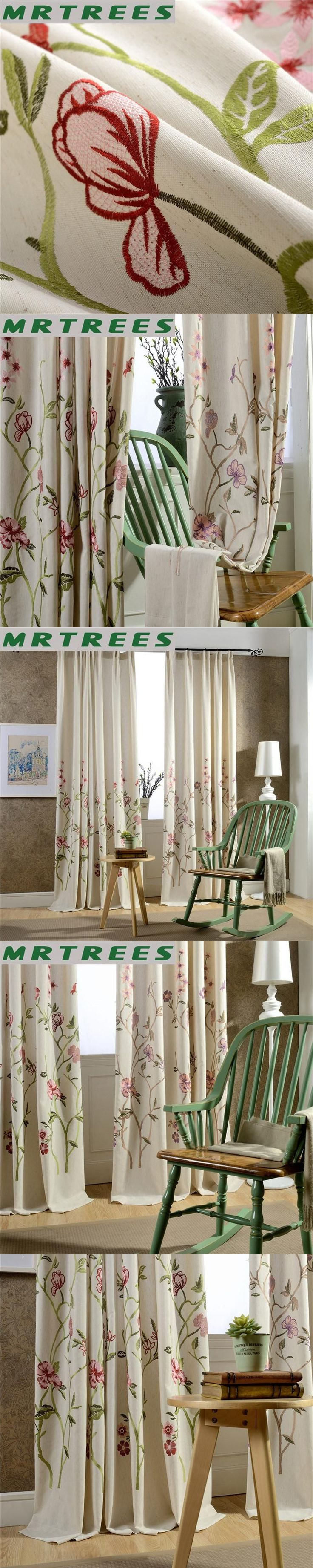 Modern Embroidered blackout curtains for bedroom floral blackout curtains for living room finished window curtains for window