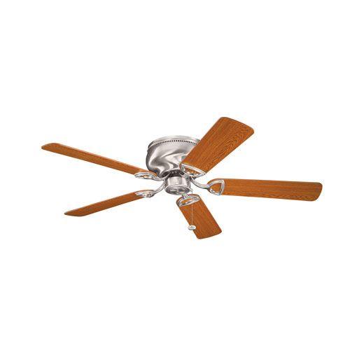 Stratmoor Brushed Stainless Steel 52-Inch Ceiling Fan with Reversible Light Oak/Medium Oak Blades