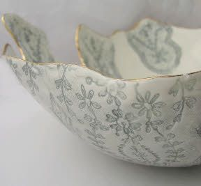 Antiqued Grey and Gold Lustre dish