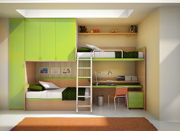 High Cabinets and Shelves above Stunning Double Bunk Beds with Green Floating Desk and File Cabinet