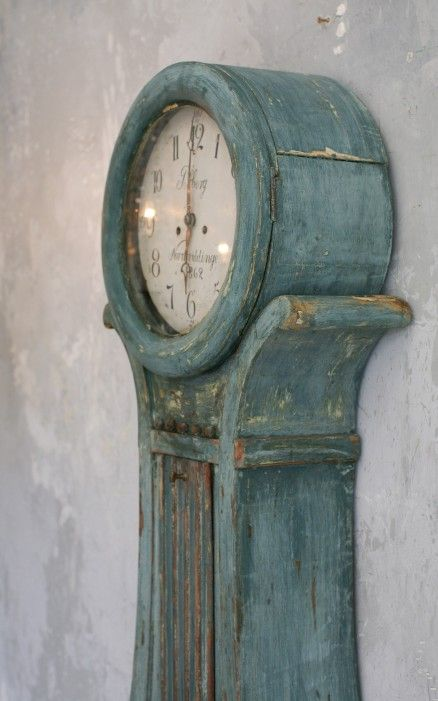 Antique Swedish Mora Clock in Aged Teal