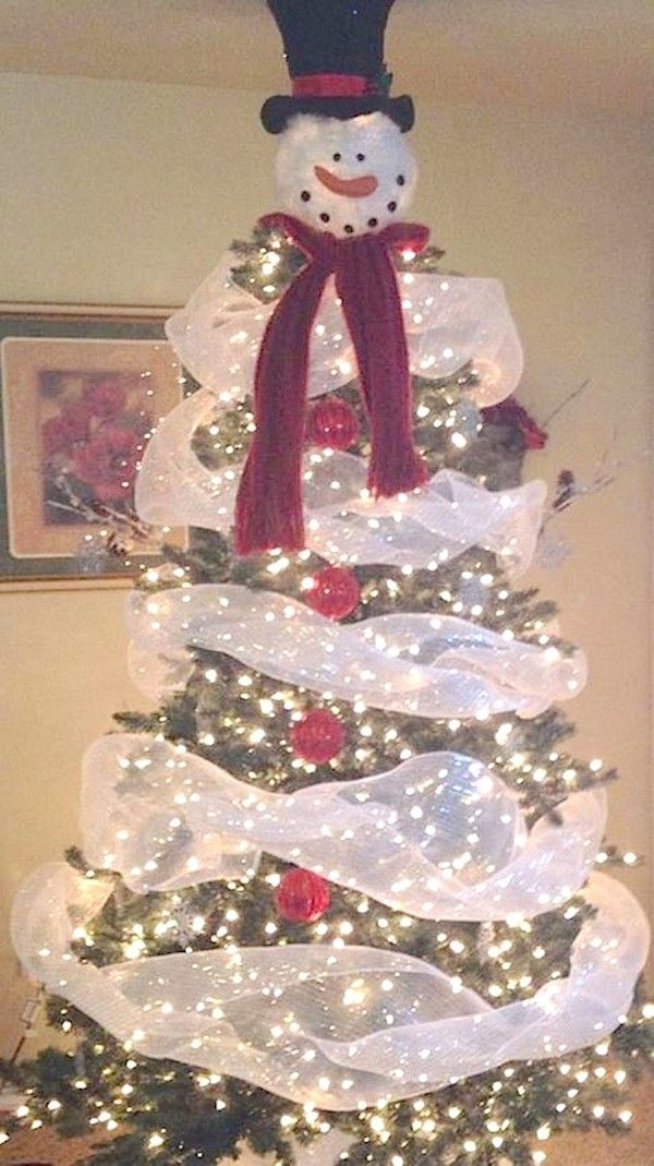 5 Christmas Tree Ideas Kids and Adults Will Both Love -- So easy and cute! A snowman Christmas tree.