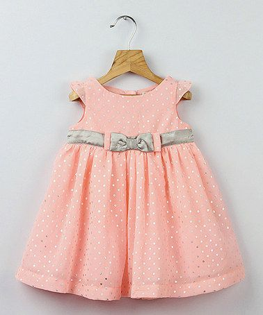 Peach & Silver Foil Polka Dot Bow Dress - Infant, Toddler & Girls by Beebay #zulily #zulilyfinds