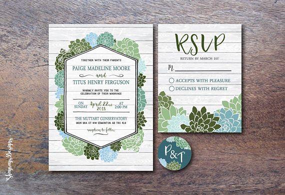 Printable Wedding Invitation // Floral Wedding Invitation Set // Blue Botanical Winter Wedding Greenery Succulent Wedding Invitation