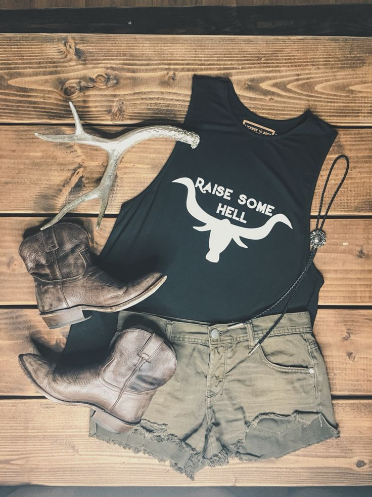 Raise some hell tank www.licensetoboot.com Stagecoach Outfit Country Thunder outfit country concert outfit cma fest outfit country music
