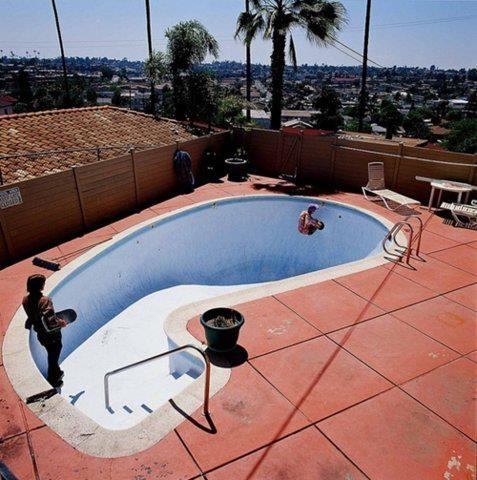 Skateboarding pool, somewhere in California
