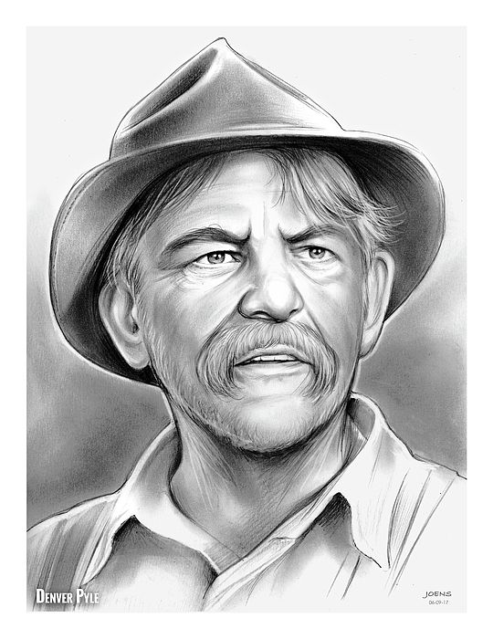Denver Pyle - Pencil Sketch of the Day 6-9-17  Denver Dell Pyle (May 11, 1920 – December 25, 1997) was an American film and television actor. He was known for portraying Briscoe Darling, Jr. in several episodes of The Andy Griffith Show, and playing Jesse Duke in The Dukes of Hazzard from 1979-85. Source: Wikipedia