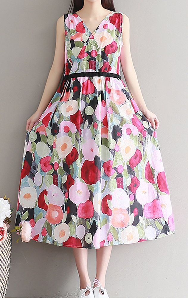 Women loose fit over plus size ethic retro flower dress linen skirt tunic chic #Unbranded #dress #Casual
