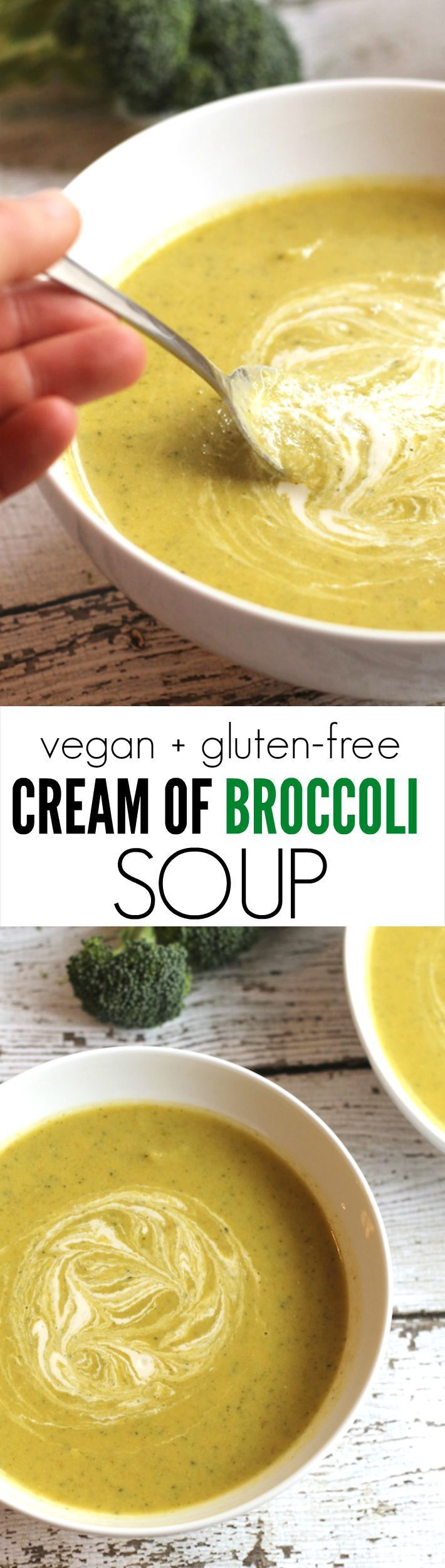 The creamiest broccoli soup...completely healthy, vegan!