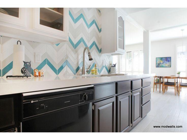 Beau Kiln Chevron American Made Ceramic Tile In Teal Agate Brine And Milk. Modern  Kitchen BacksplashModern ...