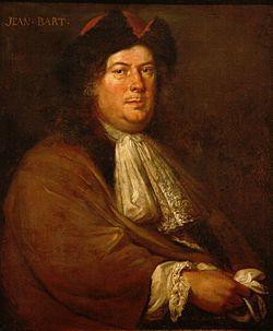 Jean Bart par Mathieu Elias- Corsaire et chef d'escadre français (Dunkerque 1650-1702). Bien que descendant d'une longue lignée de marins, il suit l'exemple de nombreux Dunkerquois, en faisant ses 1° armes dans la marine hollandaise, sous les ordres de l'amiral Ruyster, puis au moment de la guerre franco-hollandaise (1682), il regagne sa ville natale et s'embarque comme lieutenant sur un navire corsaire.