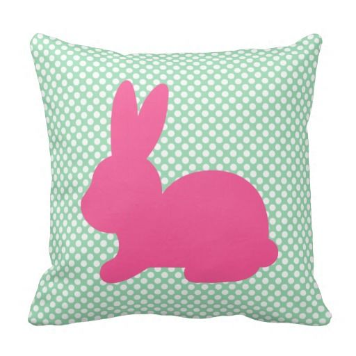 Pink Bunny Silhouette On Mint Green Pillow.  This pillow design is also available in three other color options   #easter #easterbunny #pillow #easterpillow #easterdecor