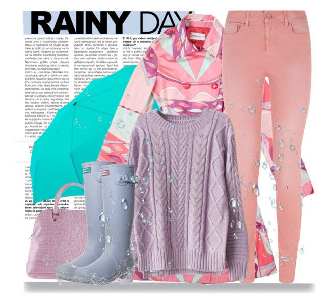 """""""Rainy Day Style"""" by pink1princess ❤ liked on Polyvore featuring Uniqlo, Emilio Pucci, Saltspin, Studio Pollini and Hunter"""