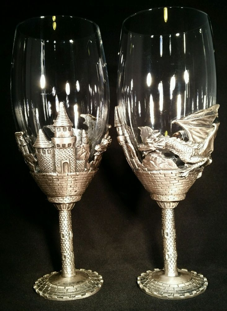 Pair pewter stem dragon goblets 2 gothic wedding glasses castle wine cups set pewter stems - Pewter dragon goblet ...