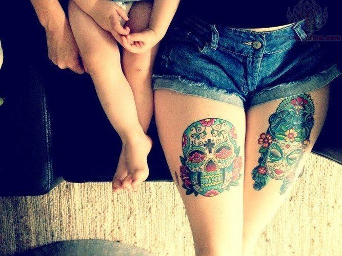 "Thigh Tattoos For Females | One Response to ""Sugar Skull Tattoos On Thigh For Girls"" I want them..."