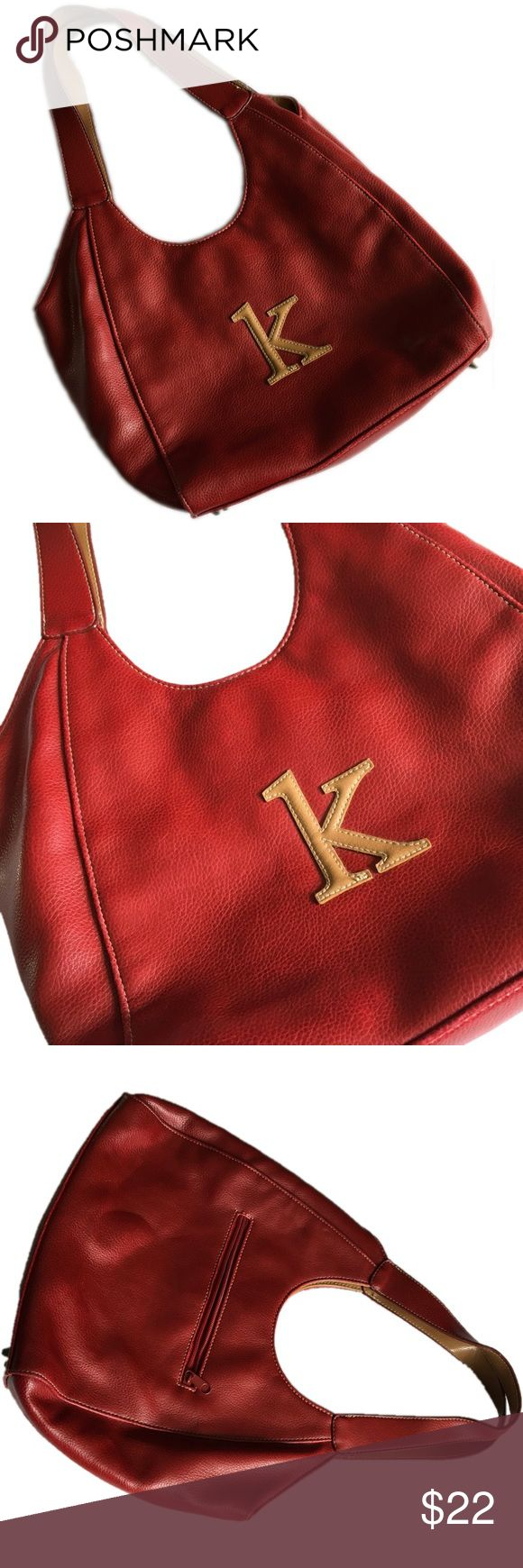 K bag - cute red bag for someone K -initial/letter Cute red bag with the letter ask on it.  Small zipper pocket on back.  Open in midddle with small magnetic button.  Inside has a zipper pocket (small on backside) as well as two small open pockets on side.  The front has the letter K on it - great initial bag for someone who's name starts with the letter K. Bags Shoulder Bags