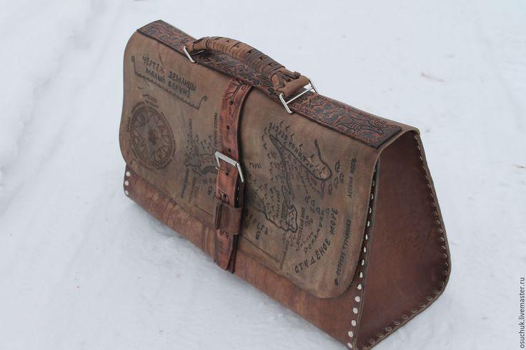 Купить Портфель коричневый, кожаный, с гравировкой - портфель мужской, коричневая сумка, портфель из кожи