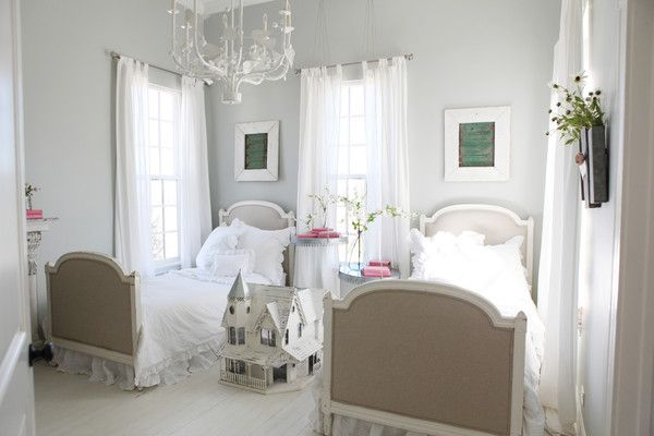 This airy bedroom that has a mix of white furniture and vintage finds is fit for a princess—or the two Gaines daughters!