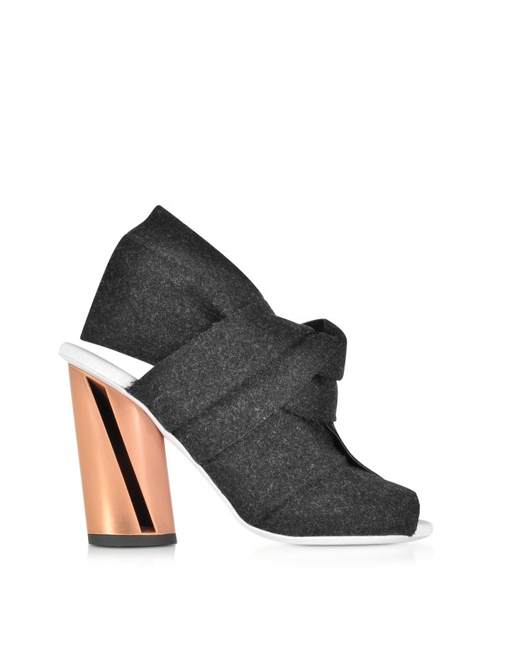 Proenza Schouler Dark Grey Felt Sandal w/Rose Gold Metal Heel 36 (6 US | 3 UK | 36 EU) at FORZIERI
