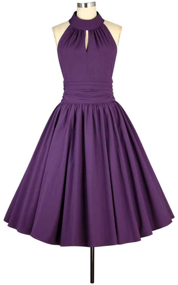 Chic Star Purple Keyhole Neckline Swing Dress