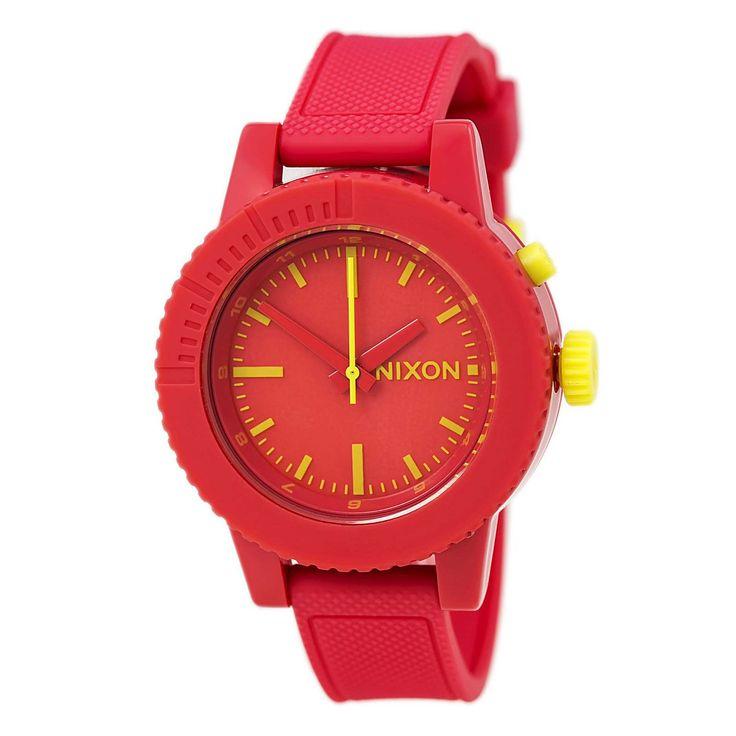 Nixon A287685 Women's Gogo Red Plastic Polyurethane Rubber Strap Watch