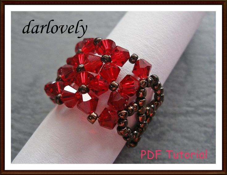 5 name 39 jewelry red flowers cuff ring rg124 bead