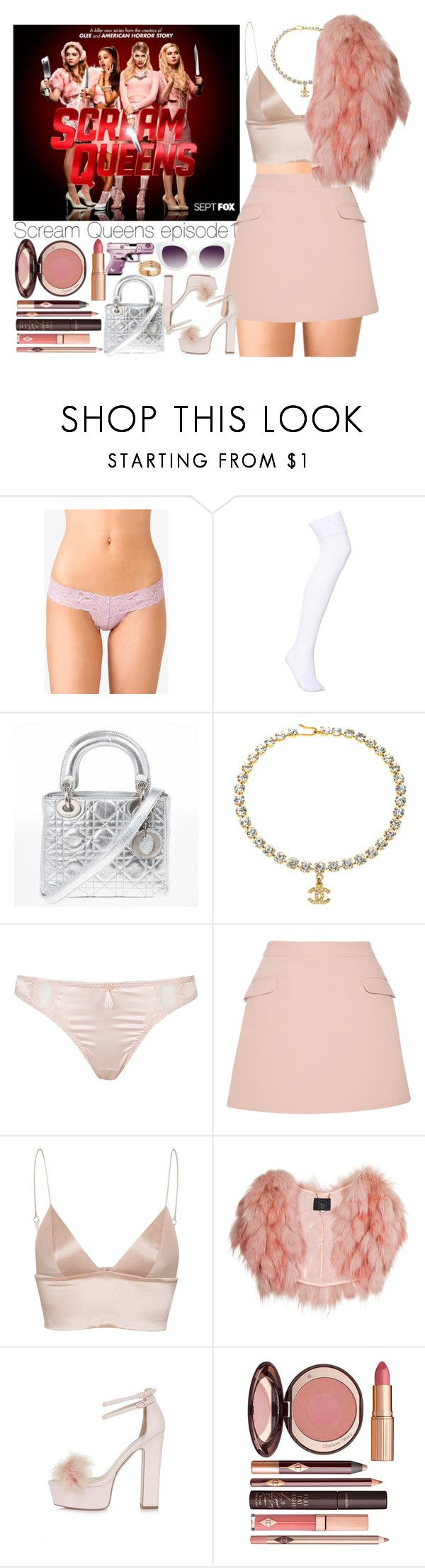 """""""Scream Queens Episode 1"""" by outfitsbynina9 ❤ liked on Polyvore featuring Forever 21, Christian Dior, Chanel, Dita Von Teese, Alice + Olivia, T By Alexander Wang, SLY 010, Topshop, Charlotte Tilbury and Hello Kitty"""