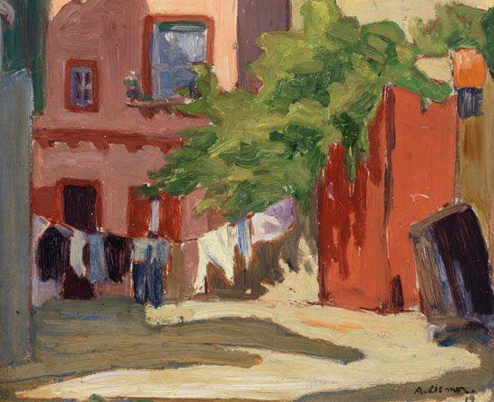 """Backyard, Toronto,"" Arthur Lismer, oil on board, 8 1/2 x 10 1/2"", private collection."