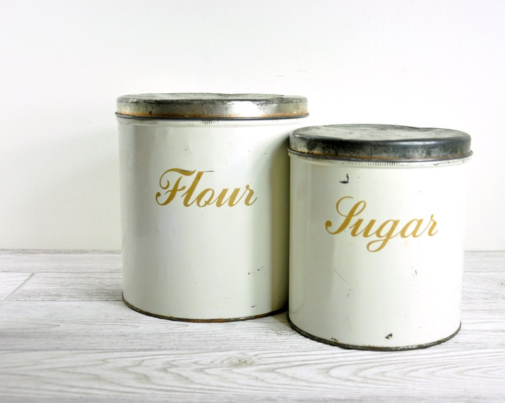 Vintage Canister Set / Mid Century Kitchen Canister Set / White Canisters