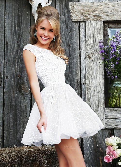 Prom Dresses - $135.00 - A-Line/Princess Scoop Neck Short/Mini Tulle Lace Prom Dress (0185058585)