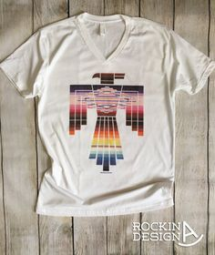 Southwest Thunderbird v-neck unisex t shirt / by RockinAdesign western, southwestern, serape, sarape, southwest, rodeo, thunderbird, native american