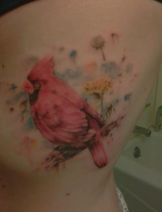 Watercolor Cardinal Tattoo